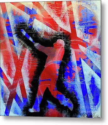Metal Print featuring the painting Kyle Schwarber - #letsgo by Melissa Goodrich