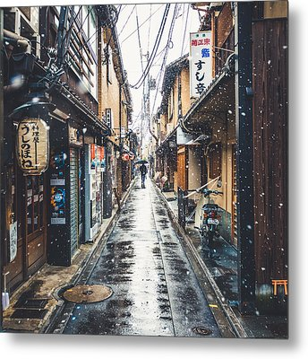 Kyoto Snow Day Metal Print