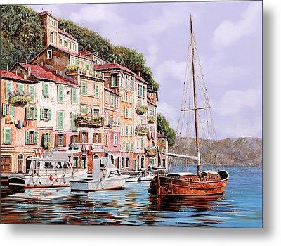 La Barca Rossa Alla Calata Metal Print by Guido Borelli