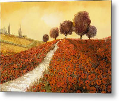 La Collina Dei Papaveri Metal Print by Guido Borelli