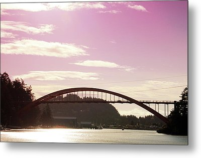 La Conner Rainbow Bridge-  By Linda Woods Metal Print by Linda Woods