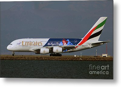 La Dodgers A380 Ready For Take-off At Sfo Metal Print
