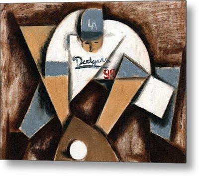 La Dodgers Cubism Baseball Player Art Print Metal Print