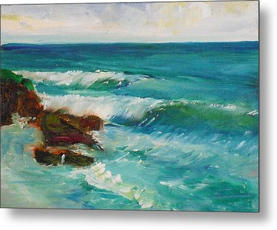 Metal Print featuring the painting La Jolla Cove 027 by Jeremy McKay