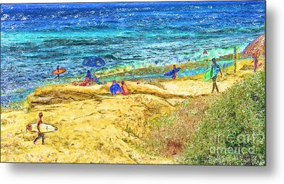 La Jolla Surfing Metal Print by Marilyn Sholin