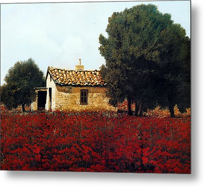 La Masseria Tra I Papaveri Metal Print by Guido Borelli