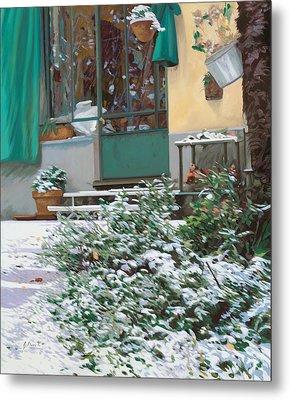 La Neve A Casa Metal Print by Guido Borelli