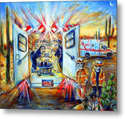Metal Print featuring the painting La Paramedica by Heather Calderon