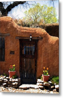 La Puerta Marron Vieja - The Old Brown Door Metal Print by Kurt Van Wagner