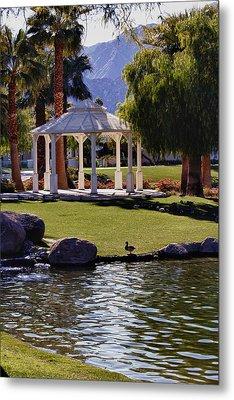 La Quinta Park Lake And Gazebo Metal Print