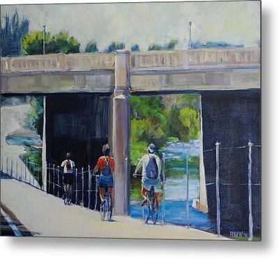 La River Bikepath Metal Print by Richard  Willson