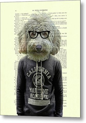 Labradoodle Dog Portrait Art Metal Print