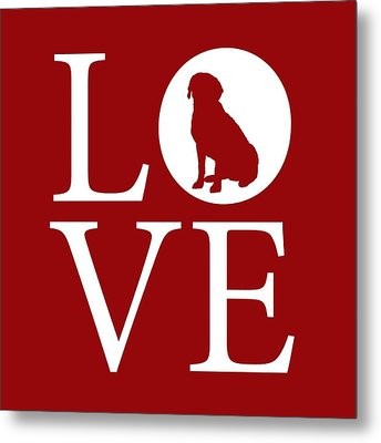 Labrador Love Red Metal Print by Nancy Ingersoll