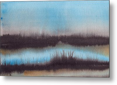 Metal Print featuring the painting Lac Au Soir by Marc Philippe Joly