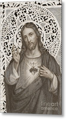 Lace Card Depicting The Sacred Heart Of Jesus Metal Print by French School