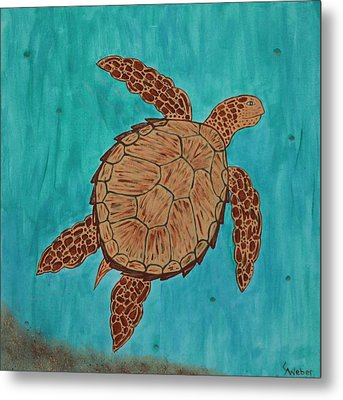 Lacey's Sea Turtle Metal Print by Susie WEBER