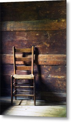 Ladderback Chair In Empty Room Metal Print by Panoramic Images