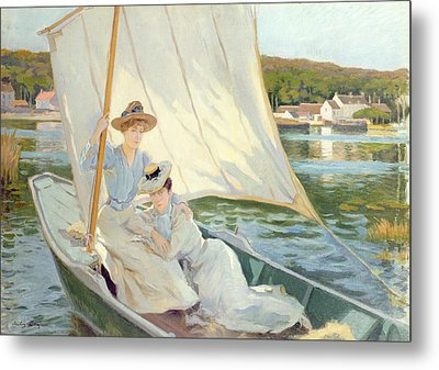 Ladies In A Sailing Boat  Metal Print