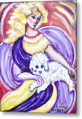 Metal Print featuring the painting Lady And Maltese by Anya Heller