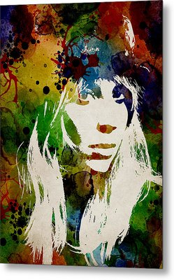 Lady Gaga Watercolor Metal Print