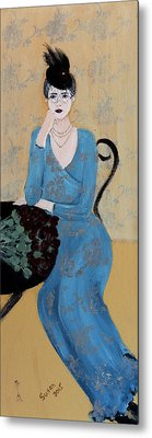 Lady In Blue Seated Metal Print