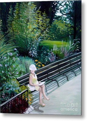 Lady In Central Park Metal Print by Elizabeth Robinette Tyndall