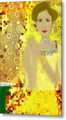 Lady In Gold Whimsy  Metal Print by ARTography by Pamela Smale Williams