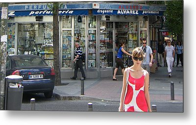 Lady In Red And White On Gaztambide Street - Madrid Metal Print by Thomas Bussmann