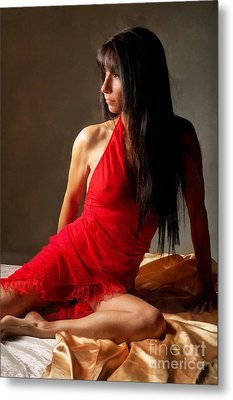 Lady In Red Metal Print by Naman Imagery