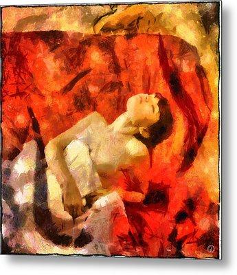Metal Print featuring the digital art Lady In Red by Gun Legler