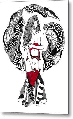 Lady In Red Metal Print by Kenal Louis