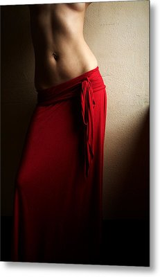 Lady In Red Metal Print by Michael McGowan