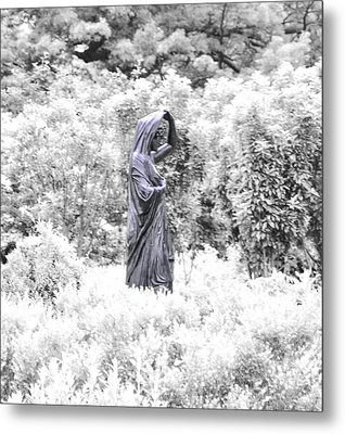 Lady In The Garden In Infrared Metal Print