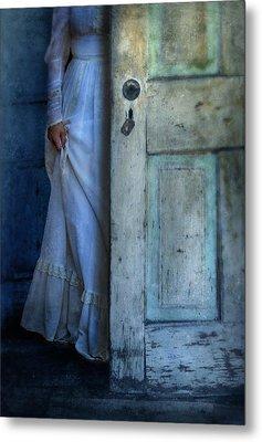 Lady In Vintage Clothing Hiding Behind Old Door Metal Print by Jill Battaglia