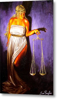 Lady Justice Long Scales Metal Print by Laura Pierre-Louis
