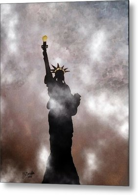 Lady Liberty In Fog Metal Print by Joseph Frank Baraba