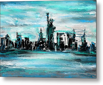 Lady Of Liberty Turquoise Metal Print by Lourry Legarde