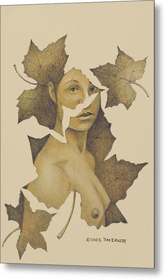 Lady Of The Leaf 3 Metal Print