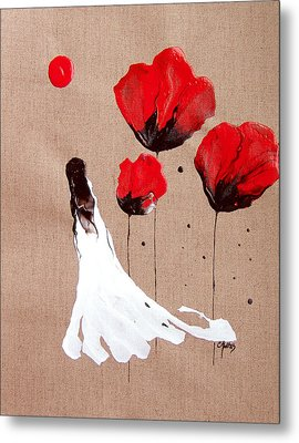 Lady Of The Poppies -contemporary Abstract Woman Red Flowers Fantasy Metal Print by Catherine Jeltes