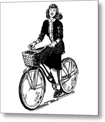Lady On A Bike Metal Print by Karl Addison