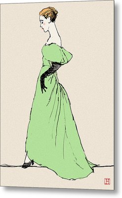 Lady On A Wire Metal Print