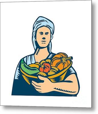Lady Organic Farmer Produce Harvest Woodcut Metal Print by Aloysius Patrimonio