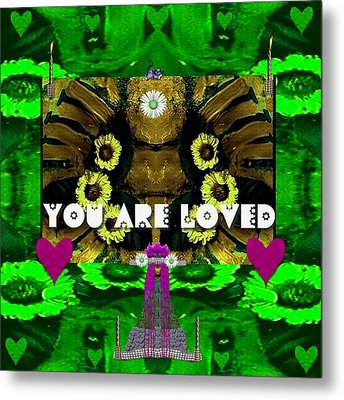 Lady Panda Says You Are Loved Metal Print