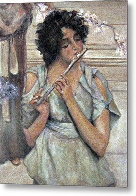 Lady Playing Flute Metal Print by Donna Tucker