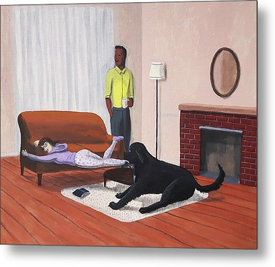 Lady Pulling Mommy Off The Couch Metal Print