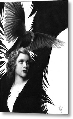 Lady Raven Surreal Pencil Drawing Metal Print
