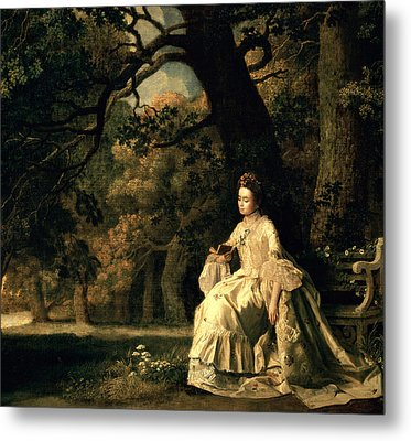 Lady Reading In A Park Metal Print