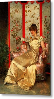 Lady Reading Metal Print by Joseph Frederick Charles Soulacroix