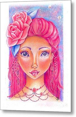 Lady Rose Metal Print by Delein Padilla