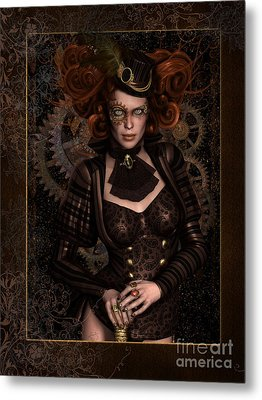 Lady Steampunk Metal Print